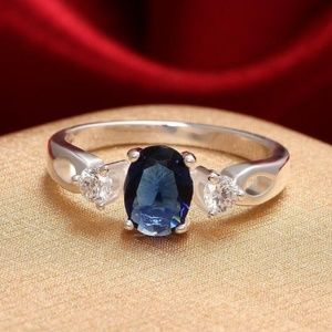 Other - NEW SILVER FASHION RING FOR MEN BLUE OPAL CZ .925